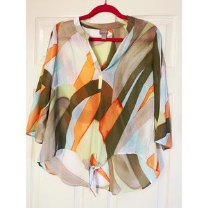 Chico's Colorful Cold-shoulder Tie-front Blouse